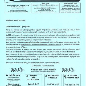SED Les Infos : la Newsletter de la SED 1er semestre 2020 est parue